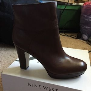 Brand New Nine West Brown Heeled Short Boots